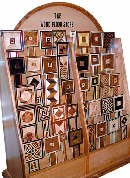 County Floors display case of borders and medallion designs